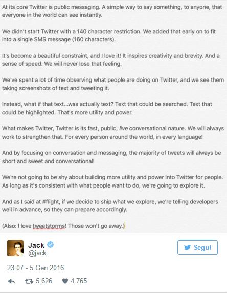twitter cambia lunghezza dei caratteri
